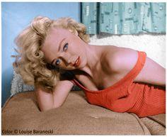 Yvette Vickers b&w photo, colorized by Louise Baranoski for writer John O'Dowd.