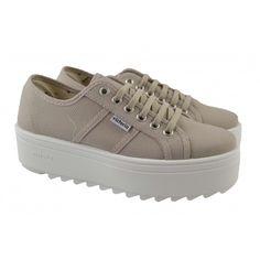 Zapatillas plataforma lona blanca VICTORIA | Zapatos Online | Calzado Mujer - Color Beig