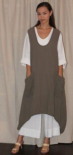 Oh My Gauze Cotton Lagenlook Brad Long Vest Bell Hem Tunic OSFM M L XL 1x Bone   eBay