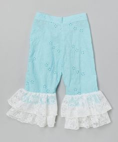 Loving this Turquoise Eyelet Lace Cuff Pants - Toddler & Girls on #zulily! #zulilyfinds