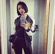 Glaiza Most Beautiful Women, Bomber Jacket, Leather Jacket, Philippines, Womens Fashion, Jackets, Safety Razor, Bouquets, Studded Leather Jacket