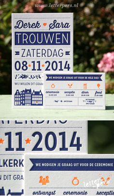 letterpers_letterpress_trouwkaart_Derek_Sara_trouwen_Amsterdam_grachtenpand_los_kaartje_fluor_oranje_donker_blauw