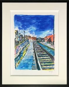 Signed by Bob Dylan, in margin lower right, numbered in margin lower left. Bob Dylan Art, Train Tracks, Museum, Canvas, Gallery, Artwork, Artist, Blue, Tela