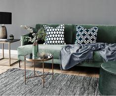 Samt-Sofa Fluente (3-Sitzer), Bezug: Grün, Beine: Schwarz