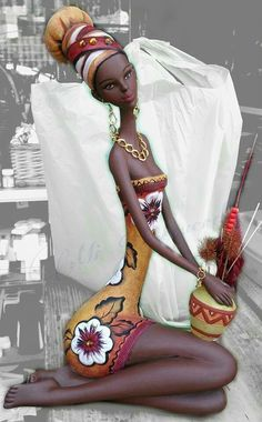 I am not sure I love how skinny this woman is but she is stunning , her clothes and her head piece. She is like an African Barbie only more real :) African Beauty, African Women, Costume Africain, Afrique Art, African Art Paintings, African Dolls, Black Artwork, Afro Art, Black Women Art