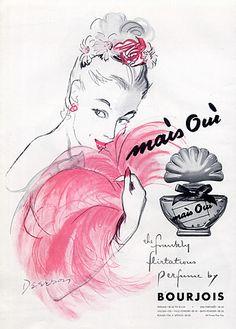 Mais Oui by Bourjois Bourjois Perfume, Bourjois Makeup, Dior Perfume, Perfumes Vintage, Vintage Makeup, Vintage Beauty, Vintage Advertisements, Vintage Ads, Vintage Posters