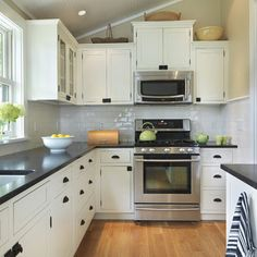 Honed Black Pearl Granite Counter Top- ideas for what to do with the cupboards