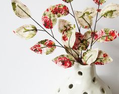 Fabric Leaves - Winter Rose Garden Branches (set of 3)