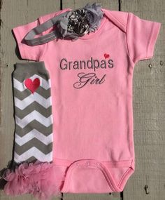 Grandpas Girl is an adorable baby girl outfit with an embroidered bodysuit, matching leg warmers and bow headband. Grandpa can be changed to Daddy, Grandma, Mommy or any title you choose. About the onesie: Great onesie quality that is 100% Ring-spun Combed Interlock Cotton that #babygirlteeshirts
