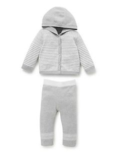 2 Piece Pure Cotton Hooded Cardigan & Joggers Outfit
