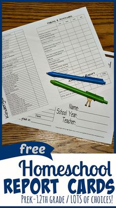 FREE Printable Homeschool Report Cards – grade with LOTS of options! These records sheets are perfect for keep homeschooling records, accessing progress, keepsake, college prep, teaching kids how to deal with constructive criticism. Homeschool Transcripts, Free Homeschool Curriculum, Homeschool Kindergarten, Catholic Homeschooling, Homeschooling In Florida, Kindergarten Report Cards, Montessori Education, Homeschooling Resources, Montessori Materials