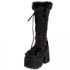 "Camel-311 Black Suede Faux Fur 5"" Heel Platform Gogo Boots - Vanity Clubwear found on Polyvore"
