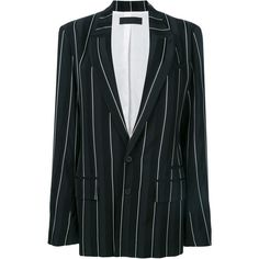 Haider Ackermann striped oversized blazer (11.975 HRK) ❤ liked on Polyvore featuring outerwear, jackets, blazers, black, blazer jacket, long sleeve blazer, haider ackermann, oversized jacket and striped blazer