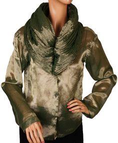 5ec4b48f771a3 Romeo Gigli 80s metallic blouse - love this collar! Moda Anni  90