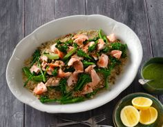 This salmon and baby broccoli quinoa salad with winter pesto makes a healthy & delicious meal the whole family can enjoy.