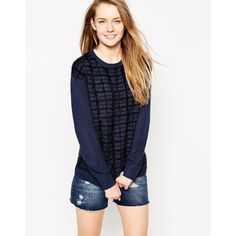 Bellfield Checked Long Sleeve Sweater ($32) ❤ liked on Polyvore featuring tops, sweaters, blue, jumpers sweaters, bellfield, checkered top, blue top and blue sweater