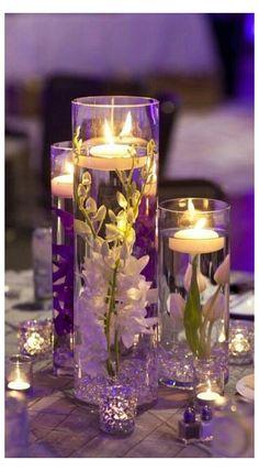 Floating Candles Wedding, Romantic Wedding Centerpieces, Floating Candle Centerpieces, Wedding Reception Centerpieces, Romantic Weddings, Unique Weddings, Purple Centerpiece Wedding, Centerpiece Ideas, Purple Wedding Decorations