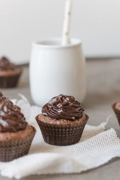 mini chocolate brownie cupcakes with chocolate ganache frosting