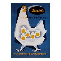 ヴィンテージ|イタリア語|食糧|広告|ポスター、|卵|パスタ|鶏