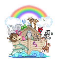 Noah's Ark Animals Mural Wall Decal for baby boy or girl safari jungle animal nursery decor. Everyone's favorite bible story, animals two by two floating on the waters waiting for land Noahs Ark Nursery, Safari Nursery, Baby Nursery Decor, Animal Nursery, Girl Nursery, Boy Nursey, Safari Theme, Jungle Safari, Room Stickers