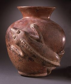 Iguana Vessel, Mexico, Colima, 200 B.C. - A.D. 500 - Slip-painted ceramic | LACMA Collections
