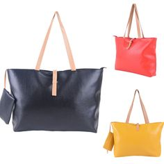 Fashion PU Leather Simple Satchel Handbag Tote Travel Purse Shouder Bags Shopper #generic #Satchel