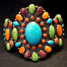 Large Don Lucas Multi-stone Cuff Native American Jewellery, American Indian Jewelry, Native American Art, Westerns, Hippie Accessories, Turquoise Jewelry, Turquoise Cuff, Santa Fe Style, Shades Of Turquoise