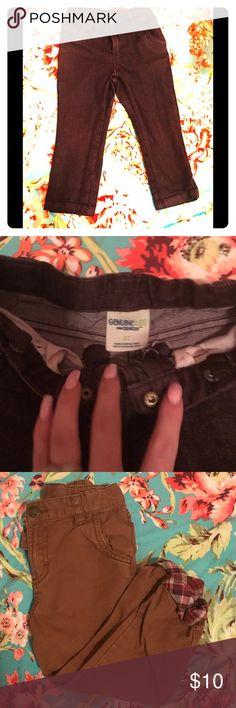 OshKosh jean bundle Maroon denim with adjustable waist, second pair is OshKosh dark khaki with plaid detail at the cuff of the pant. Both in EUC Osh Kosh Bottoms Casual