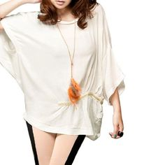 Allegra K Woman Batwing Sleeve Chain Detail Casual Blouse Top White M Allegra K. $12.74