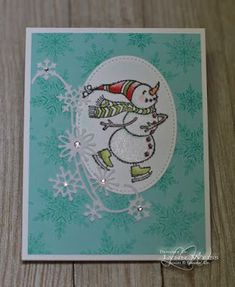 You can almost feel the cool breeze blowing in his adorable face as this spirited snowman ice skates in a flurry of snowflakes. This is anot. Christmas Snowman, Christmas Cards, Snowman Cards, Diy Crafts, Card Crafts, Winter Cards, Snowmen, Snowflakes, Stampin Up
