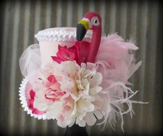 Pink Flamingo Mini Top Hat Mad Tea Party Mini Top Hat by ChikiBird