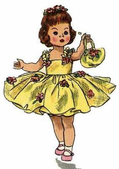 2294 Doll Clothes Pattern for 10 inch Ginny, Muffie, Alexander Kins dolls. A 1950s doll clothes pattern.
