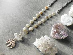 Collier long pendentif labradorite et quartz lien par JewelryByPlk