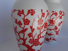 Vitrock Vase Milky White Red Birds and Cherry by StoreFourandMore