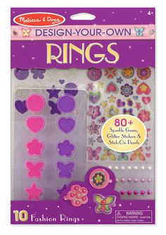 Design-Your-Own Rings: Design, create, and wear your own fabulous rings with this all-inclusive craft kit! Over 80 sparkle gems, glitter stickers and stick-on pearls make it easy to customize ten rings with a gorgeous array of shapes and designs. Choose the ring shape; then add layers of gem, glitter and pearl stickers. Easy to make, fabulous to wear! Rings are adjustable for sizing. *So cute