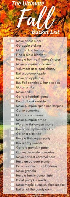 Ultimate fall bucket list ❤