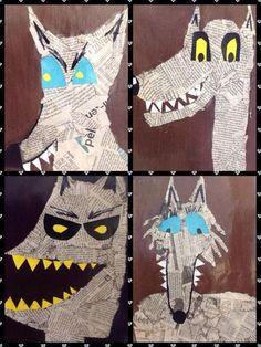 This is a photo only for ideas for newspaper art project Classroom Art Projects, Art Classroom, Wolf Craft, Newspaper Art, 2nd Grade Art, Atelier D Art, Ecole Art, Fairytale Art, Kindergarten Art