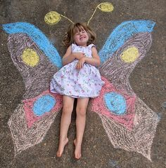 Butterfly & caterpillar activities: Draw ahead of time and have your students each take a turn to lie in the middle! What a fun photo op!