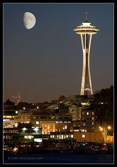 Space Needle at Night, Seattle WA, 2008 by AlexCphoto, via Flickr