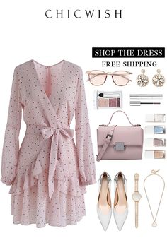 Dots Wrap Ruffle Dress - Summer Outfits for Work Girly Outfits, Mode Outfits, Classy Outfits, Chic Outfits, Dress Outfits, Fashion Dresses, Baby Outfits, Outfit Chic, Mode Ulzzang