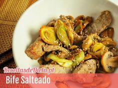 Bife Salteado com cogumelos e alho francês #receita #dieta #fitness