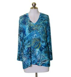 Chico's Travelers Turquoise Blue Black White Paisley Stretch Knit V-Neck Top 2 #ChicosTravelers #KnitTop #Casual