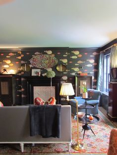 New Fornasetti wallpaper by Cole & Son at @Lee Semel Jofa in the room designed by Jack Levy Kips Bay Boys & Girls Club Decorator Show House http://dec-a-porter.blogspot.com/2013/06/kips-bay-decorator-showhouse-interior.html