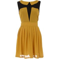 Yellow pleat shift tunic found on Polyvore