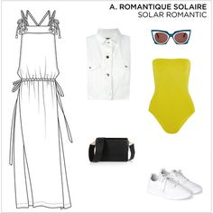Peclers Paris -   SS 2017 -  Casual and sexy, supple dress in light cotton twill.Tied cord straps, drawstring waist and maxi side split Source : PeclersParis, Solar Romantic