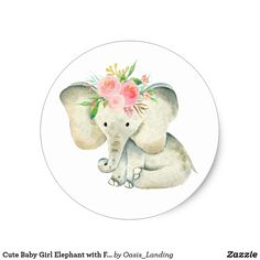 Cute Baby Girl Elephant with Flowers Classic Round Sticker - An adorable baby elephant wears a crown of pink roses on her head. This sticker is available in 2 sizes (shown here in the smaller size). Use on party favors, correspondence and other items for a baby shower, birthday party, and more. Sold at Oasis_Landing on Zazzle.
