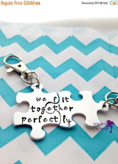 Puzzle Piece Key chains Anniversary Gift Couple Key Chains Puzzle Jewelry BFF Keychains boyfriend Present Couple Jewelry Best Friend gift