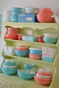 A great way to add a splash of pastel color to your kitchen. Love this cupboard of vintage Pyrex.