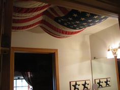 Just for fun.  A 48 star flag pinned to the ceiling of the kids' Americana bathroom.