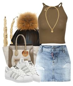 """""""Pomx2"""" by msyorkieluver ❤ liked on Polyvore featuring CÉLINE, Dsquared2, adidas and Versace"""